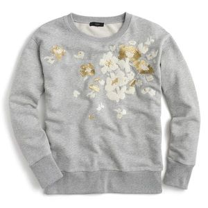 J. Crew Gray Embroidered Floral Sweatshirt